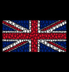 United kingdom flag collage of index finger items vector