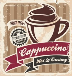 Vintage cappuccino poster vector image