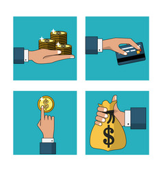 White background with set of frames with cash vector