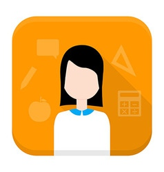 Woman app icon with long shadow vector image