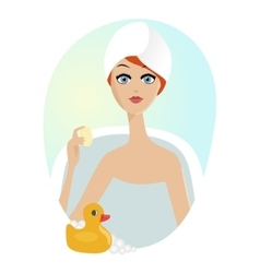 woman taking a relaxing bath with rubber duck vector image