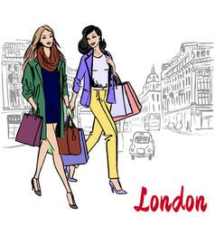Women walking in london vector