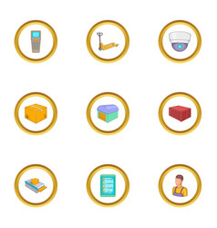 Work in the warehouse icons set cartoon style vector