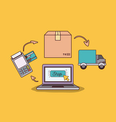 Yellow background with laptop computer with steps vector