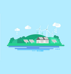 eco residential house with solar panels and wind vector image