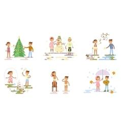 Set with children vector image