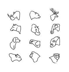 Animal heads thin line flat icons vector image