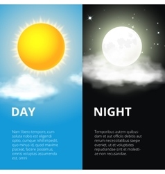 Day and night sun moon vector image vector image