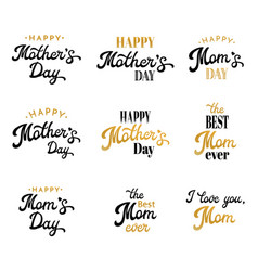 mothers day lettering calligraphic badges set vector image vector image