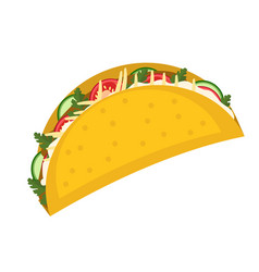tacos icon flat cartoon style isolated on white vector image