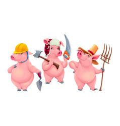 three little pigs vector image