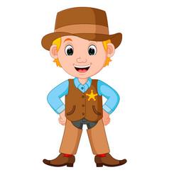 cartoon cowboy with a gun vector image