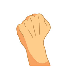 cartoon hand in fist gesture on white vector image