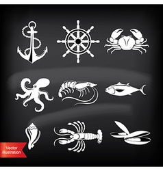 Crab lobster fish octopus Set of seafood icons vector image