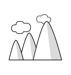 line mountains with clouds and natural landscape vector image vector image