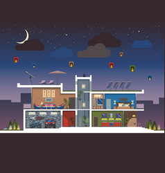 Modern house night vector