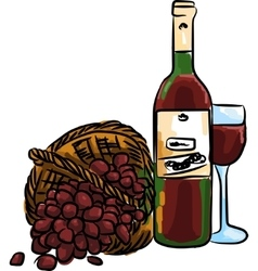 red grape with bottle red wine and vector image vector image