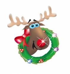 reindeer in wreath vector image vector image