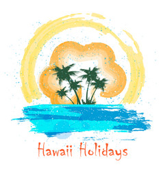 retro hawaii holiday poster vector image vector image