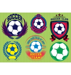 Set of Soccer Football Badge Logo Design Templates vector image