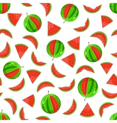 whole and sliced watermelon seamless pattern vector image vector image