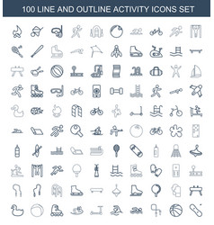 100 activity icons vector