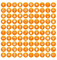 100 analytics icons set orange vector