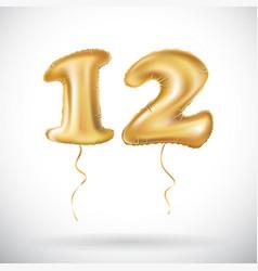 12 anniversary celebration with brilliant gold vector