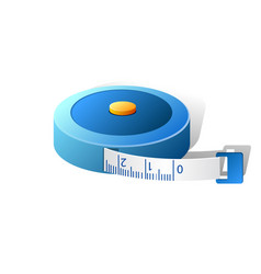 3d blue measuring tape isolated on vector