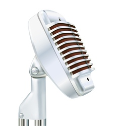 Aluminum microphone on a white vector