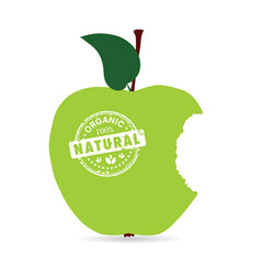 apple organic and natural in green color vector image