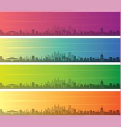 Atlanta multiple color gradient skyline banner vector
