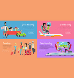 Auto air train travelling and travellers banner vector