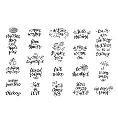 Autumn and thanksgiving hand written lettering vector