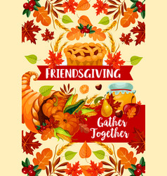 Autumn harvest friendsgivind day dinner vector