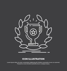 award cup prize reward victory icon line symbol vector image