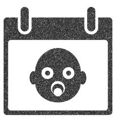 Baby Head Calendar Day Grainy Texture Icon vector image