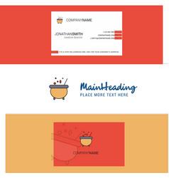 beautiful cooking pot logo and business card vector image