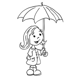 Black ad white little girl with umbrella vector