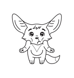 Black and white puzzled fennec fox who shrugs vector