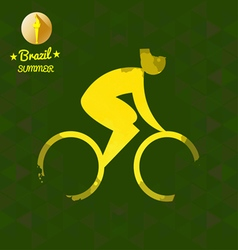 Brazil summer bicycle sport card with an yellow ab vector