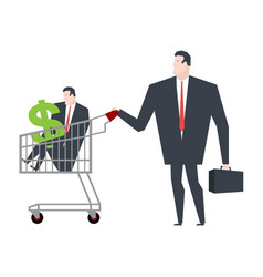business family in store go shopping manager in vector image
