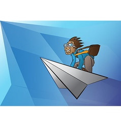 Business man on paper aeroplane vector