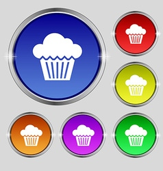 Cake icon sign Round symbol on bright colourful vector