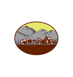 car being towed away mountains oval woodcut vector image