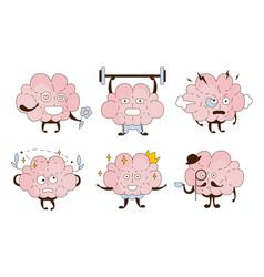 Cartoon brain in different roles vector