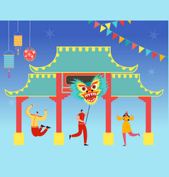 chinese lunar new year carnival people with dragon vector image