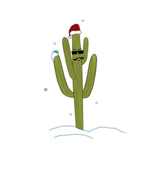 christmas in tropical climate concept cactus as vector image