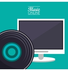 Computer and music online design vector
