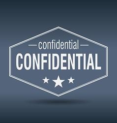 Confidential hexagonal white vintage retro style vector